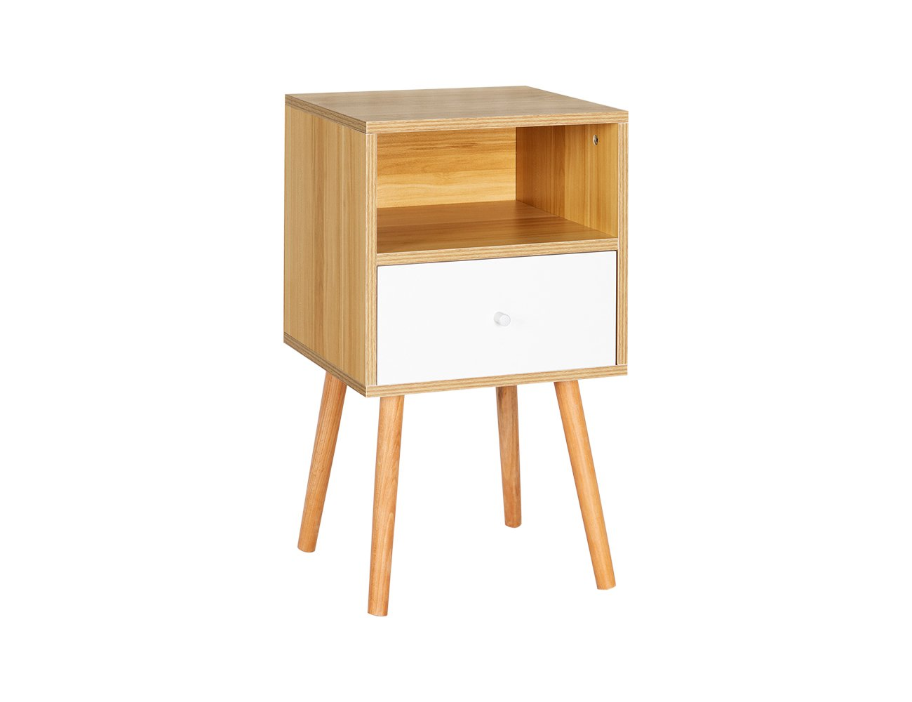 High Leg Bedside Table with Drawer