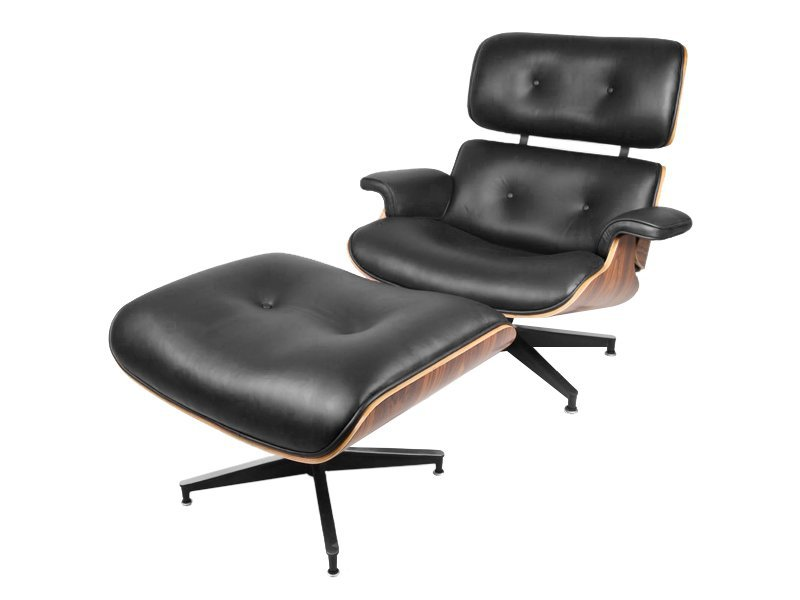 Replica Eames Chair with Ottoman - Black/Rosewood